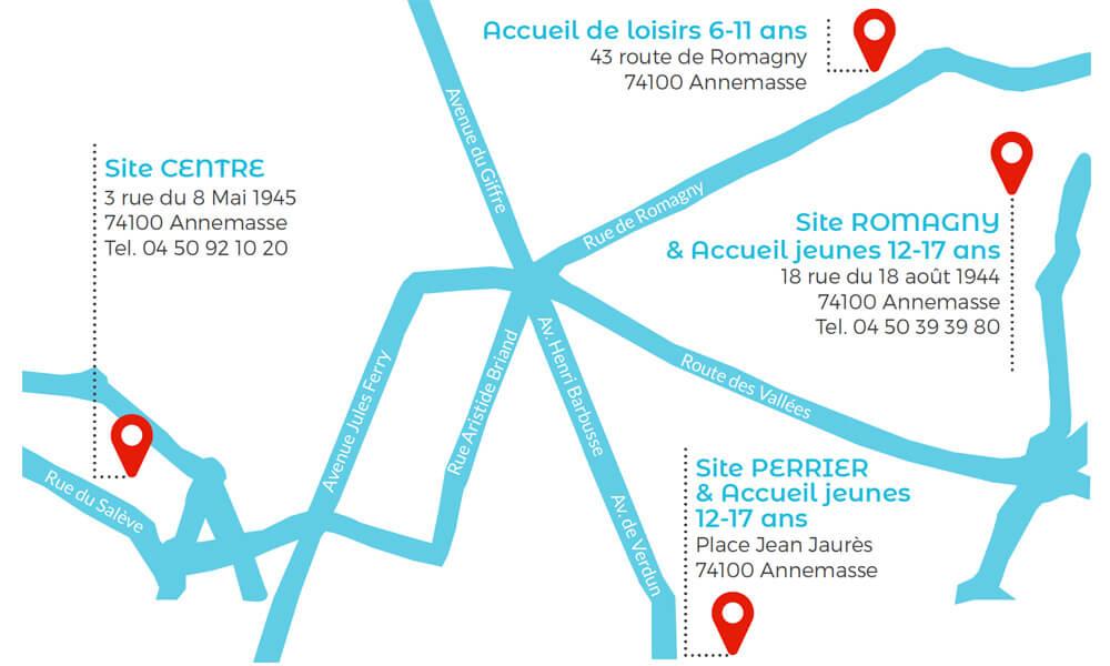 Accès MJC Annemasse Centre, Romagny et Perrier.